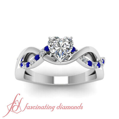 Blue Sapphire Intertwined Engagement Ring 0.85 Ct Heart Shaped Diamond VVS2 GIA 1