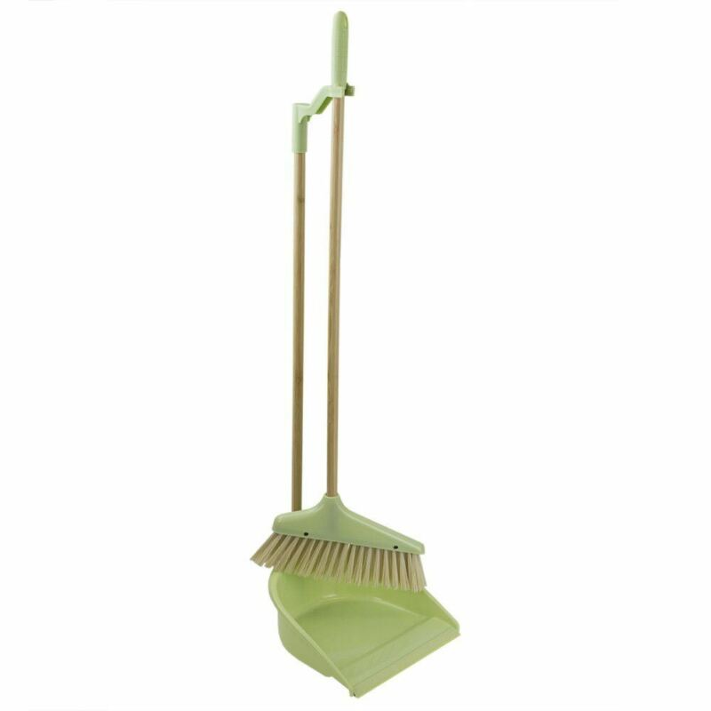 Home Basics Bliss Collection Bamboo Dustpan with Broom, Green - PB45590