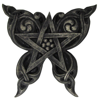 Butterfly Pentacle Plaque - Stone Finish - Dryad Design - Pagan Wiccan Wicca