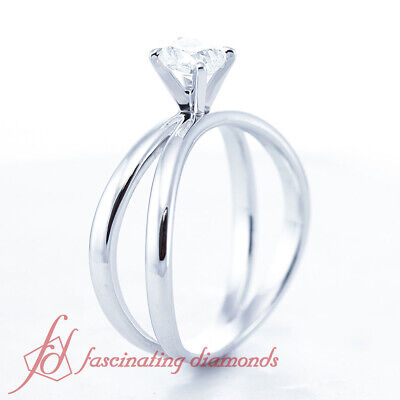 Butterfly Twist Solitaire Engagement Ring 1/2 Carat Cushion Cut Diamond VVS2 GIA 2