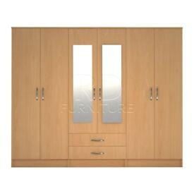 Hampton wardrobe 4 you, 2,28m wide 6 door beech wardrobe