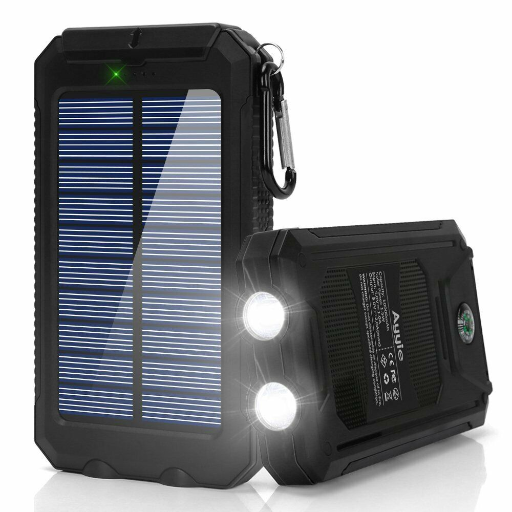 Solar Power Bank Portable Backup Battery Pack Dual USB 10000