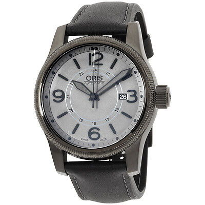 Oris Men's 73376294263LS Big Crown Black Leather Strap Watch
