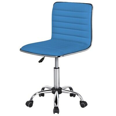 Pu Leather Low Back Armless Desk Chair Ribbed Armless Swivel Task Chair Office C
