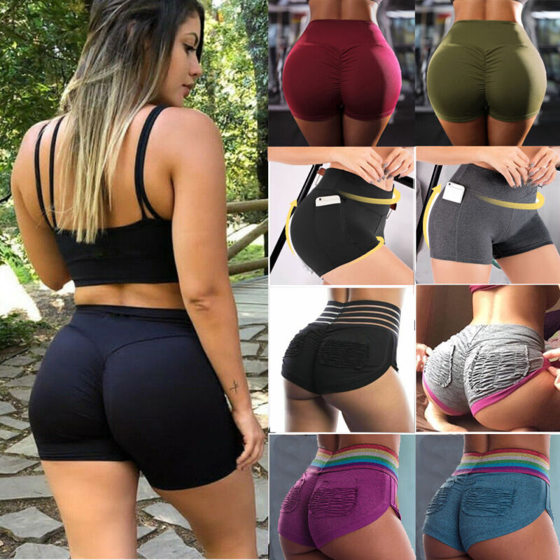 Compression Women Shorts Sports Gym Fitness Running Scrunch Butt Booty Pants