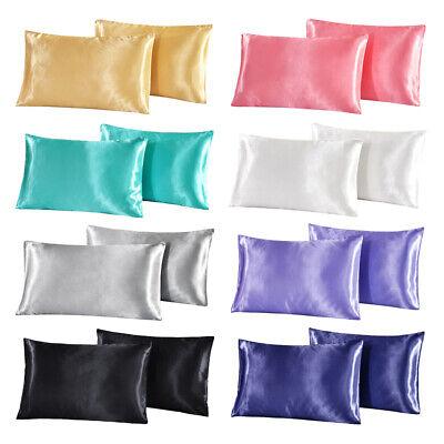 2Pcs Standard Queen King Satin Silk Pillowcase Pillow Case Cover Home Bedding ()