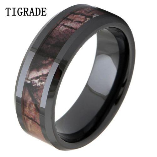 8mm Black Ceramic Ring Women Camo Inlay Wedding Bands Engage