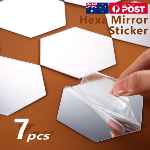 Home Decoration - 7Pcs DIY Wall Stickers Decals Mirror Hexagon Removable Acrylic Art Home Decor