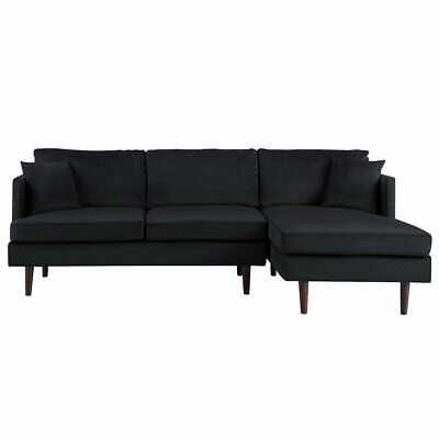 Mid-Century Modern Brush Microfiber Sectional Sofa L-Shape Couch in Black Black Microfiber Couch