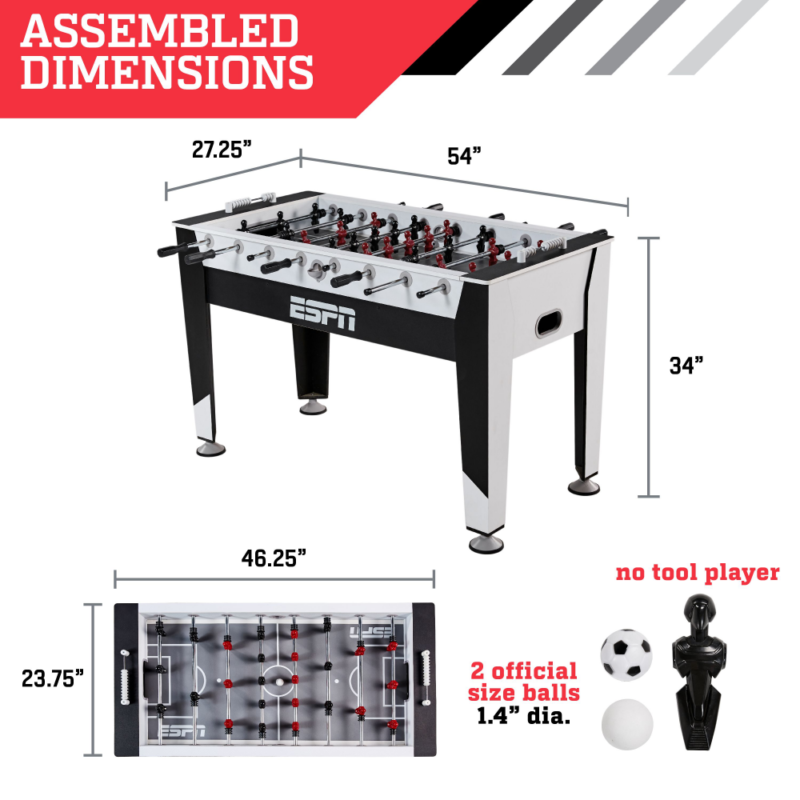 ESPN 54 Inch Arcade Foosball Table with Easy Assembly Player