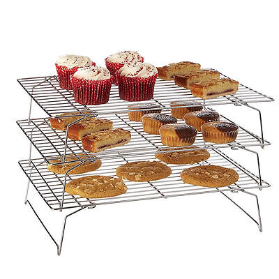 3-stöckiges Abkühlgitter Kuchengitter mit Antihaftbeschichtung Gebäck Keks Brot