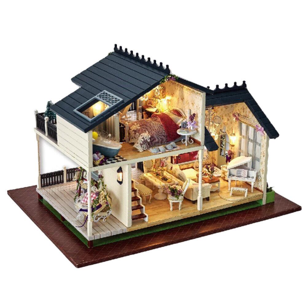 LED Light Wooden 3D DIY Music Dollhouse Miniature Furniture