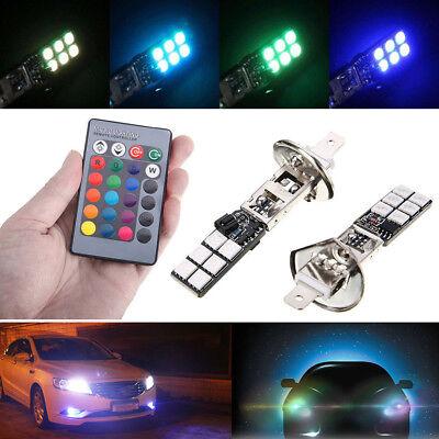2x H1 5050 16 Colors RGB 12SMD LED Car Headlight Fog Bulb Light Remote Control for sale  Humble