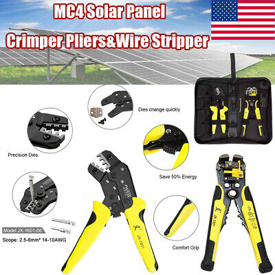 Mc4 Solar Crimper Pliers Wire Stripper Terminal Tool Set Connector Spanner Kit
