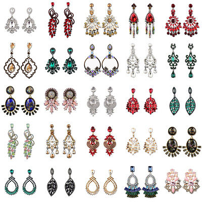 Elegant Women Crystal Rhinestone Statement Drop Stud Long Earrings Chain Jewelry Chain Rhinestone Drop Earrings