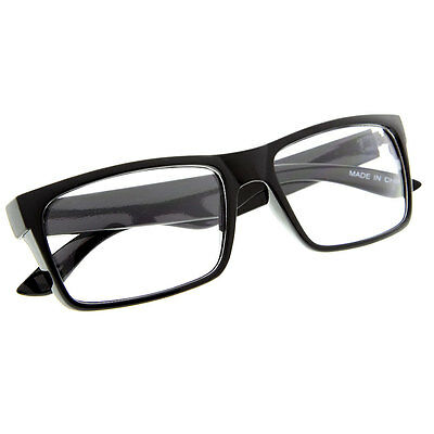 Black Frame Glasses Fashion Rectangle Fake Nerd Interview Smart Clear Lens (Clear Plastic Frame Glasses)