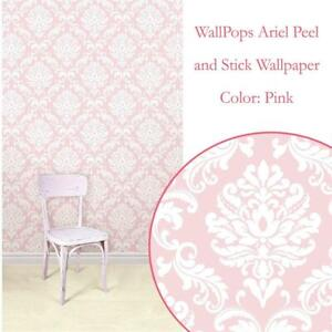 NEW WallPops NU1397 Ariel Peel and Stick Wallpaper, Pink Condtion: New, Pink