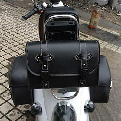 Used, Motorcycle Double Buckles Saddle Bag Leather Tool Bag Fork Rear bag Fit Harley for sale  USA