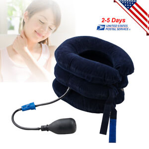 【US SHIP】Cervical Collar Neck Relief Traction Brace Support Stretcher Inflatable