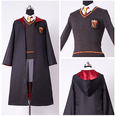Harry Potter Hermione Granger Cosplay Costume Kid Adult Gryffindor Uniform+Wig - Costume Hermione Granger