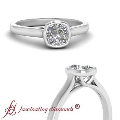 Half Carat Cushion Diamond Cathedral Solitaire Engagement Ring In 18K White Gold