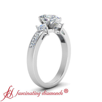 2 Carat Pear Shaped And Princess Diamond Simple Channel Set Engagement Ring GIA 2