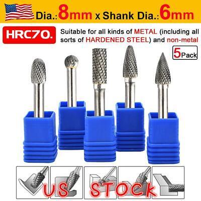 5pcs 14 Tungsten Carbide Rotary Point Burr Die Grinder Shank Set Dia.8mm
