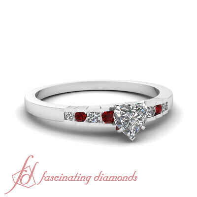 3/4 Carat Platinum Engagement Ring With Heart Shaped Diamond And Round Ruby GIA