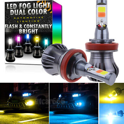 H11 H8 H9 H16 LED Fog Light Dual Color Upgrade 2-Mode High Power Bulbs 3K +