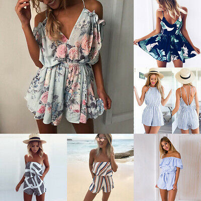 New Womens Boho Off Shoulder Playsuit Culottes Holiday Jumpsuit Clubwear (Floral Romper)