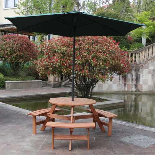 Garden Furniture - Wooden Garden Round Table and 3 Bench Seat Chairs Outdoor Patio Furniture Set