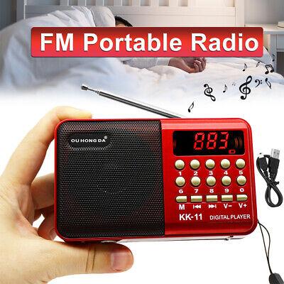 Mini Portable FM Radio LCD Digital MP3 Player Speaker Rechargeable AUX USB TF US