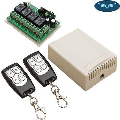 DC 12V 4CH 200M Wireless Remote Control Relay Switch 2 Transceiver+Receiver FAST