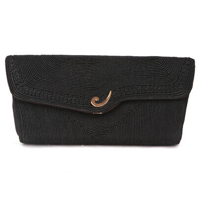 1940s Handbags and Purses History Vintage 1940s/50s Embroidered Cord Clutch Rope Design Flap Purse Black Gold $37.22 AT vintagedancer.com