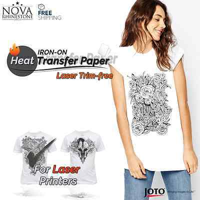 Laser Iron-on Trim Free Heat Transfer Paper Light Fabric 100 Sheets 8.5 X 11