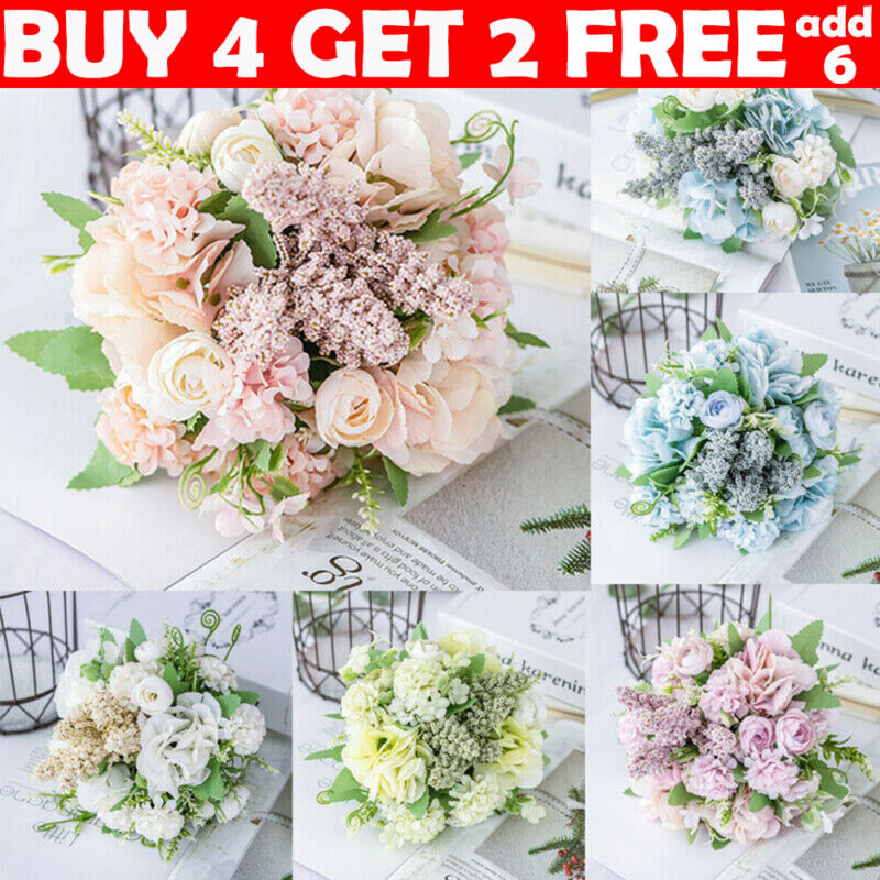 Home Decoration - 13 Heads Silk Peony Artificial Flowers Fake Bouquet Wedding Home Party Decor UK