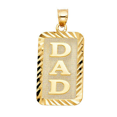 14k Yellow Gold Dad Pendant Charm Father