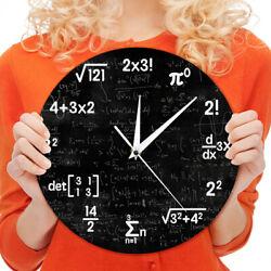 Math Equation Geek Wall Clock Notations Mathematic Chalkboard School Class Decor