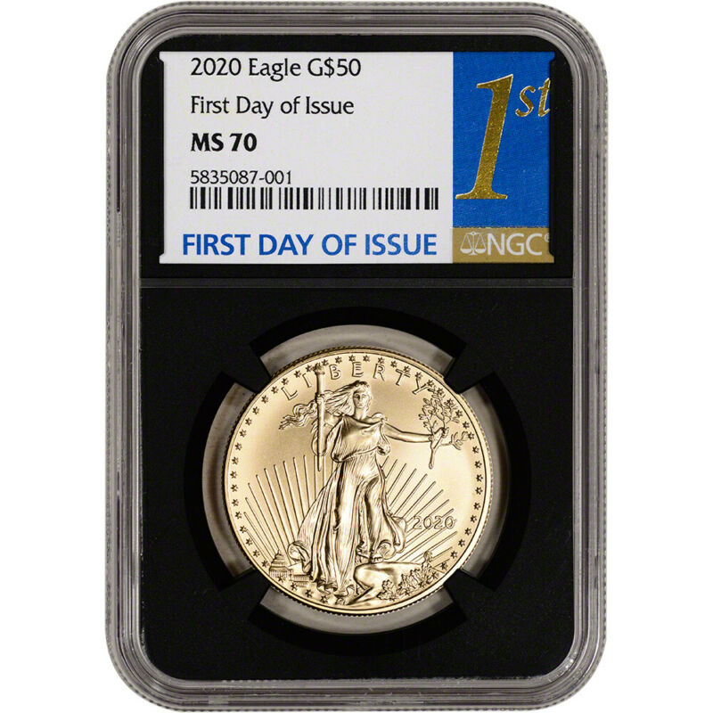 2020 American Gold Eagle 1 oz $50 - NGC MS70 First Day of Issue 1st Black