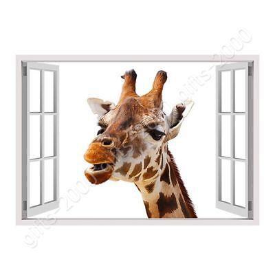Giraffe by Fake 3D Window | Canvas (Rolled) | Wall art HD artwork giclee ()