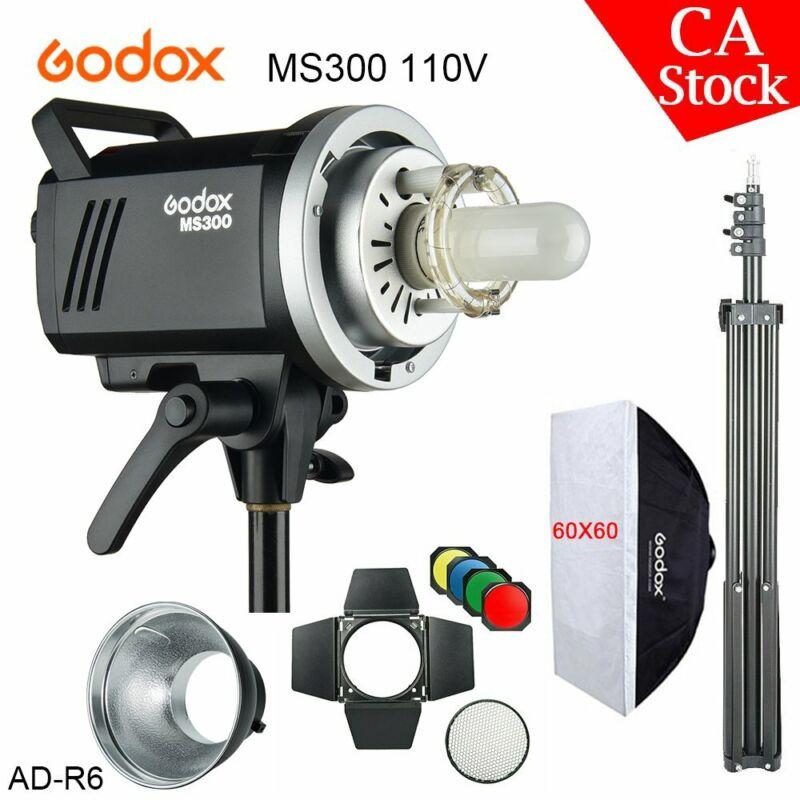US Godox 2.4G MS300 110V Studio Strobe Flash Light + 60x60 Softbox BD-04 AD-R6