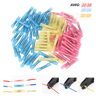 125pcs Heat Shrink Insulated Butt Wire Crimp Electrical Connectors Terminals Set