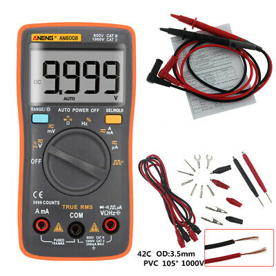 Aneng An8008 True-rms Digital Multimeter 9999 Counts Ammeter Voltage Ohm Meter
