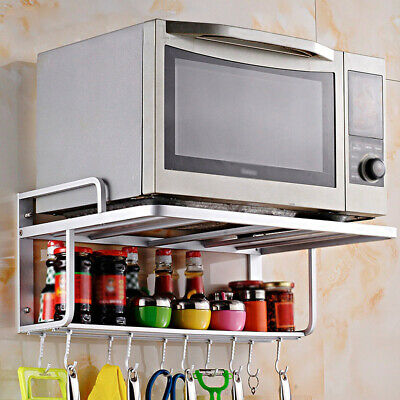 Double Bracket Microwave Oven Wall Mount Shelf Rack With Removable Hook Durable