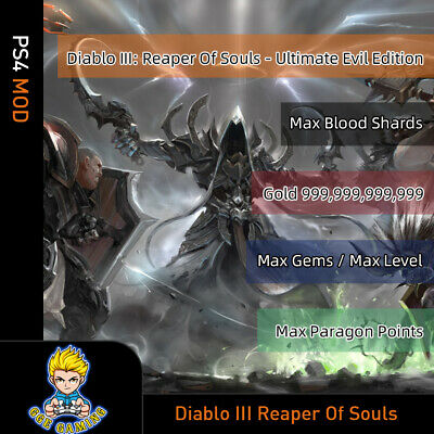 Diablo III: Reaper of Souls (PS4 Mod) -Max Blood Shards/Gold/Gems/Level/Paragon , used for sale  Shipping to Nigeria