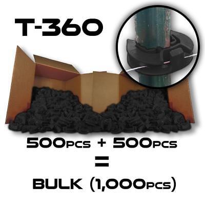 Lockjawz - Black - T-360 Electric Fence Insulators. Line Corner Post 1000 Pk