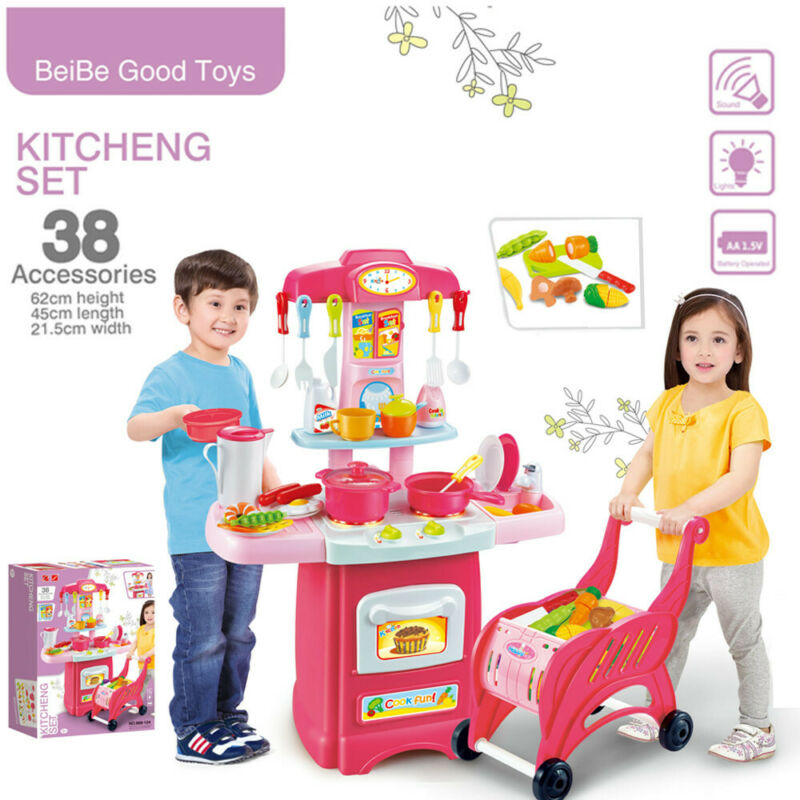 Kitchen Playset For Girls Boys Set Play Food Toddler Pretend
