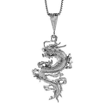 - Sterling Silver Chinese Dragon Pendant Charm 1 1/2