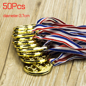 50pc Children Gold Plastic Winners Medals Sports Day Party Bag Prize Awards Toys