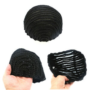 Black Cornrow Wig Cap for Making Braids with Elastic Band and Combs M